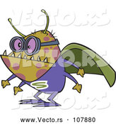 Vector of Cartoon Super Illness Bug Wearing a Cape by Toonaday