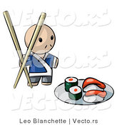 Vector of Cartoon Sushi Chef with Giant Chopsticks Beside Plate of Raw Food by Leo Blanchette