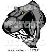 Vector of Cartoon Vicious Roaring Black Panther Head by Chromaco