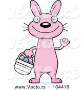 Vector of Cartoon Waving Slim Pink Easter Bunny by Cory Thoman