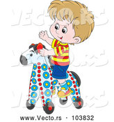 Vector of Cartoon White Boy Playing on a Rolling Toy Horse by Alex Bannykh