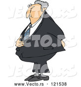 Vector of Cartoon White Business Man Holding His Stomach and Behind by Djart