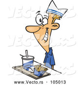 Vector of Cartoon White Fast Food Worker Guy with a Tray of Food at a Counter by Toonaday