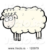 Vector of Cartoon White Sheep by Lineartestpilot