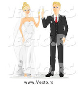 Vector of Caucasian Newlyweds Toasting with Champagne by BNP Design Studio