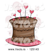 Vector of Chocolate Cake with Heart Pins by BNP Design Studio