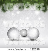 Vector of Christmas Background of 3d Silver Baubles with Snowflakes and Tree Branches by KJ Pargeter