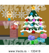 Vector of Christmas Decorations by a Fireplace in a Home, Christmas Tree and Stocking by AtStockIllustration