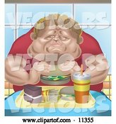 Vector of Chubby Guy Eating a Tray Full of Fast Food by AtStockIllustration