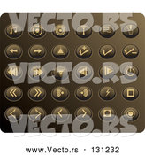 Vector of Collection of Tan Media Utton Icons on a Gold Background by Rasmussen Images