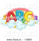 Vector of Colorful Abc and 123 on Starry Clouds Against a Rainbow by BNP Design Studio