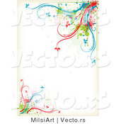 Vector of Colorful Floral Vines Border Background Design by MilsiArt
