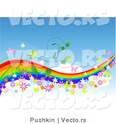 Vector of Colorful Rainbow in Blue Sky with Butterflies, Flowers and Vines - - Background Border Design Element with Copyspace by Pushkin