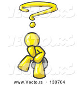 Vector of Confused Yellow Businessman with a Questionmark over His Head by Leo Blanchette