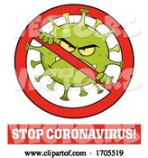 Vector of Coronavirus Mascot Character in a Prohibited Symbol by Hit Toon