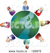 Vector of Customer Service Team Around a Globe by Prawny