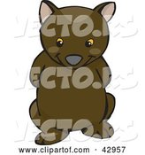 Vector of Cute and Shy Wombat with His Arms Behind His Back by Dennis Holmes Designs