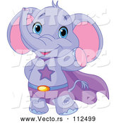 Vector of Cute Baby Purple Elephant Super Hero Waving by Pushkin