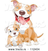 Vector of Cute Blue Eyed White Ad Tan Pitbull Puppy Dog Sitting in Front of Its Mom by Pushkin