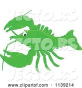 Vector of Cute Cartoon Green Lobster by Alex Bannykh