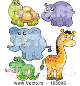 Vector of Cute Tortoise, Hippo, Elephant, Giraffe and Snake by Visekart