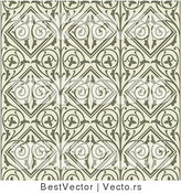Vector of Dark Green Floral Vines and Diamonds over Beige Seamless Background by BestVector