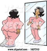 Vector of Delusional Cartoon Fat Black Lady Seeing Herself As Skinny in the Mirror by Johnny Sajem