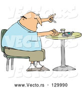 Vector of Diabetic White Guy Sitting in a Chair at a Table and Pricking His Finger with a Lancing Device for a Blood Sample by Djart