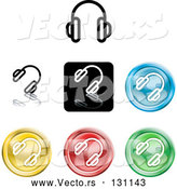 Vector of Different Colored Headphone Icons - Template Button Collection by AtStockIllustration