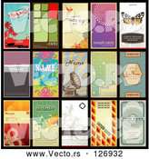 Vector of Digital Collage of 15 Retro Styled Vertical Business Cards by Anja Kaiser
