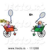 Vector of Disabled Boy and Girl Playing Badminton in Wheelchairs by Prawny