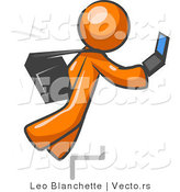 Vector of Distracted Orange Guy Tripping on Steps While Texting on a Cell Phone by Leo Blanchette