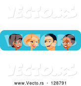 Vector of Diverse Black, White and Hispanic Men and Women Chatting by Monica