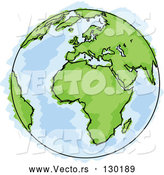 Vector of Drawing of Planet Earth with Green Continents and Blue Seas, Some Coloring out of the Lines by Beboy