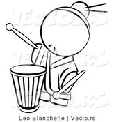 Vector of Drummer Chinese Person - Coloring Page Outlined Art by Leo Blanchette