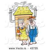 Vector of Elderly Cartoon Husband and Wife Pigs Standing in Front of a BBQ Smoker by LaffToon
