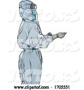 Vector of Emergency Medical Worker in a Protective Suit by Dero