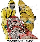 Vector of Emergency Medical Workers in Suits Helping Covid-19 Patient on a Gurney by Dero