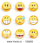 Vector of Emoticons: Smiling, Laughing, Sad, Grinning, Silenced and Goofy by Beboy