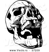 Vector of Evil Skull Laughing - Black and White Line Art by Lawrence Christmas Illustration