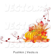 Vector of Fall Harvest with Wheat, Pumpkins, Vines and Autumn Leaves - Background Border Design by Pushkin