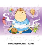 Vector of Fat Boy Meditating and Trying to Motivate Healthy Food Thoughts While Being Circled by Junk Food by Mayawizard101