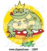 Vector of Fat Frog Prince Wearing a Crown and Sitting on a Red Mushroom with White Spots by Andy Nortnik