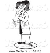 Vector of Female Doctor or Pharmacist Holding a Bottle of Pills and a Pencil While Prescribing Medication to a Patient in a Hospital by Andy Nortnik