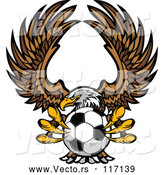 Vector of Fierce Bald Eagle Flying with a Soccer Ball in Its Talons by Chromaco