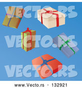 Vector of Five Wrapped Christmas Presents by Rasmussen Images