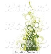 Vector of Floral Grunge Background with Green Plant-like Waves by L2studio