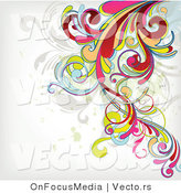 Vector of Flourish Vines Background Design over White Background Version 2 by OnFocusMedia