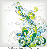 Vector of Flourish Vines Composited over off White Background Design Version 1 by OnFocusMedia