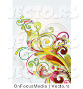 Vector of Flourish Vines on off White Background Version 8 by OnFocusMedia